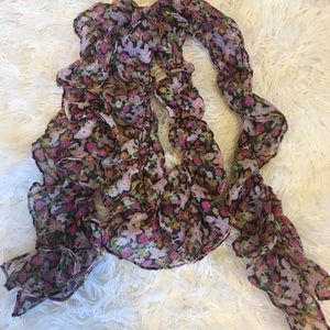 Ruffled Floral Scarf